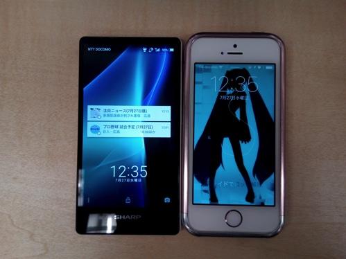 AQUOS mini SH-M03とiPhone SEのサイズ比較 表