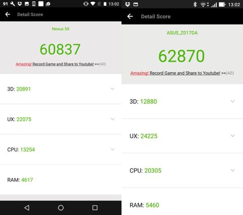 Nexus5XとZenFone3のベンチマーク AnTuTu