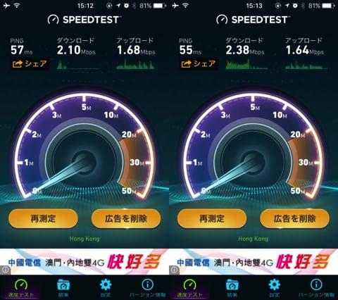 通信速度は香港で2Mbpsほど