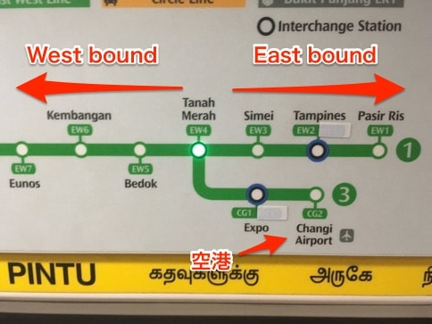 チャンギ・エアポート駅からタナ・メラ駅で乗り換え
