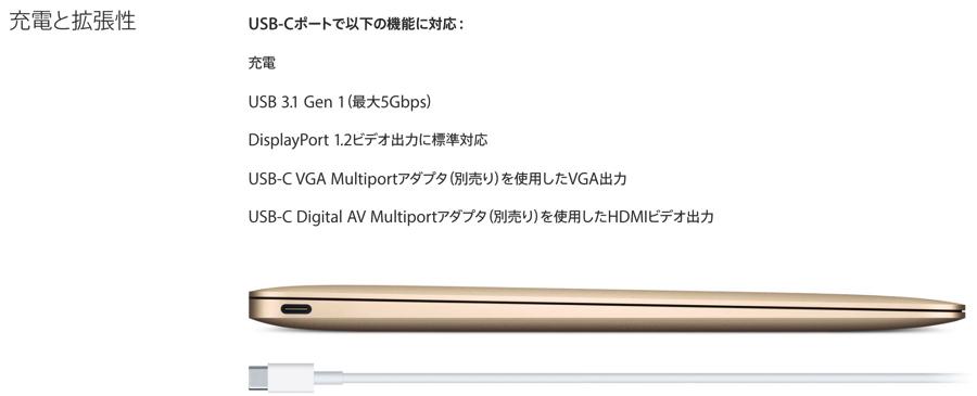 MacBookのUSB3.1はGen1対応