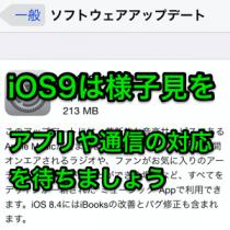 iOS9はアップデートしないように。不具合が修正されアプリや通信が安定するまで様子見を