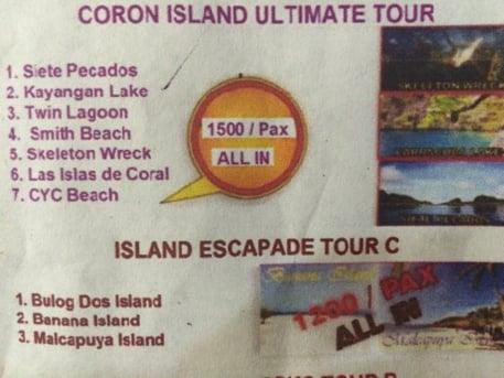 コロン島のアイランドホッピングツアーの料金