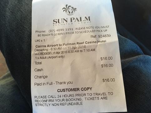 ケアンズ空港のシャトルバスの料金