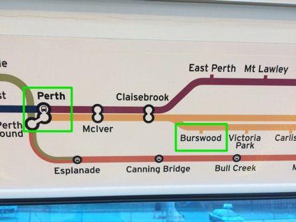 パースの電車の路線図